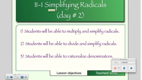 Thumbnail for entry 11-2 Operations with Radicals (Day # 2)
