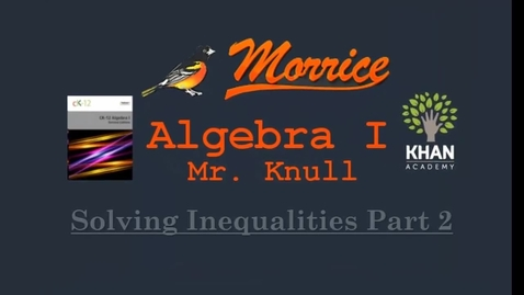 Thumbnail for entry CH1 Inequalities Part 2