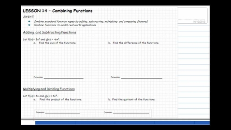 Thumbnail for entry Lesson 14 Combining Functions