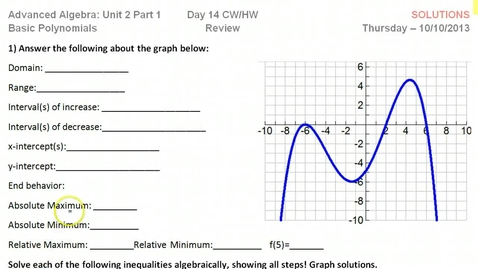 Thumbnail for entry 1010H - Day 14 CW HW - #1 to #14 - Basic Polynomials - Test Review