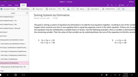 Thumbnail for entry Solving Systems by Elimination Lesson