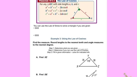 "Thumbnail for entry GeoB Lesson 8:5 part 2  ""The Law of Cosines"""