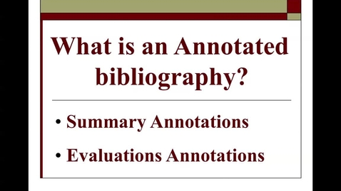 Thumbnail for entry Annotated Bibliographies