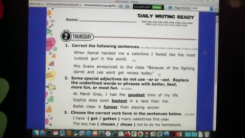 Thumbnail for entry Daily Writing and Reading Ready Feb. 11