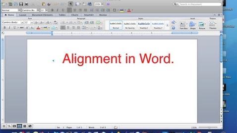Thumbnail for entry Setting up Alignment and Using Alignment in Word