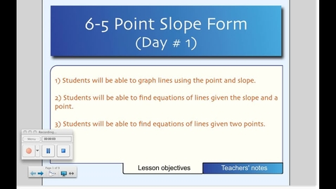 Thumbnail for entry 6-5 Point-Slope Form (Day # 1)