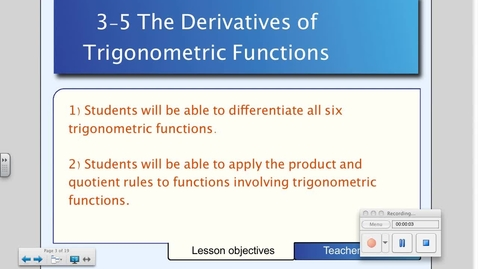 Thumbnail for entry 3-5 Derivatives of Trigonometric Functions