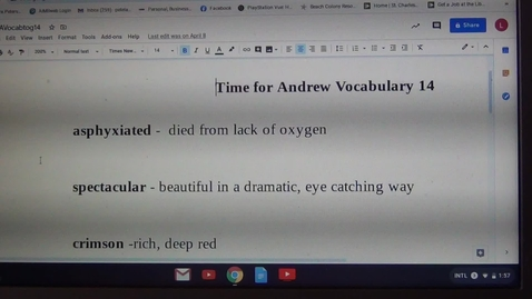 Thumbnail for entry Fourteenth Vocabulary Sheet for Time for Andrew by Mary Downing Hahn