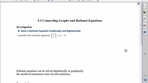 Thumbnail for entry PC30 9.3 connecting Graphs and Rational Functions
