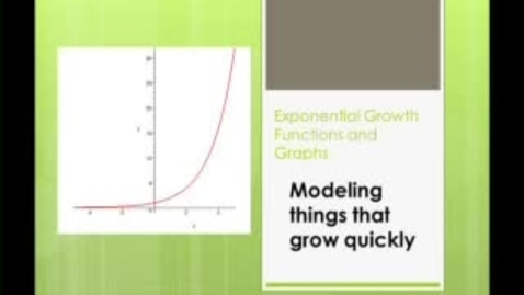 Thumbnail for entry Exponential Growth Functions