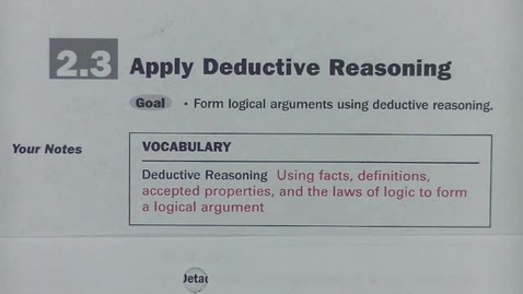 Thumbnail for entry Geom Sec 2.3 Apply Deductive Reasoning