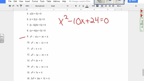 Thumbnail for entry Quadratics:  Finding zeroes algebraically example 9