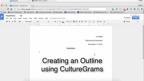 Thumbnail for entry Making an Outling in Google Drive with CultureGrams