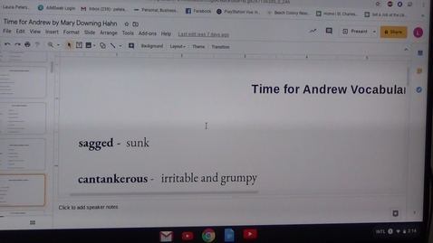 Thumbnail for entry Second Vocabulary Sheet for Time for Andrew by Mary Downing Hahn