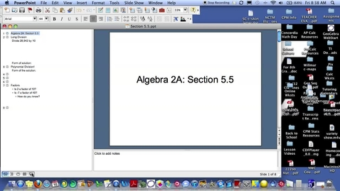 Thumbnail for entry Algebra 2A Section 5.5