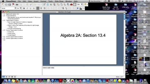 Thumbnail for entry Algebra 2A Section 13.4 (PART 1)