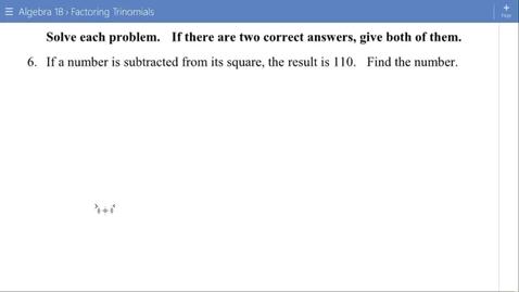Thumbnail for entry Algebra 1B Lesson 13 #6-8