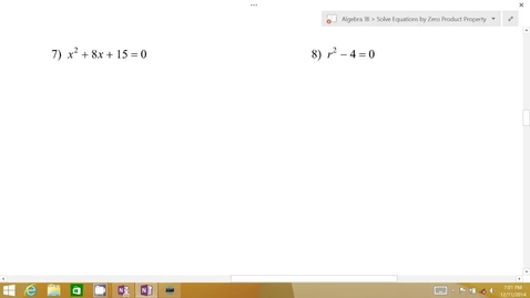 Thumbnail for entry Algebra 1B Lesson 07 #7-8