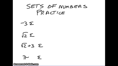 Thumbnail for entry Sets of Numbers - Practice