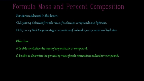 Thumbnail for entry Formula mass and percent composition