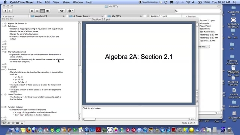 Thumbnail for entry Algebra 2A Section 2.1
