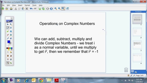 Thumbnail for entry Operations on Complex Numbers
