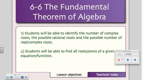 Thumbnail for entry 6-6 The Fundamental Theorem of Algebra