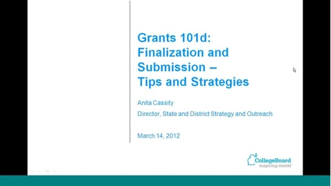 Thumbnail for entry Grants 101d: Finalization and Submission: Tips and Strategies