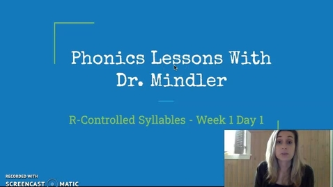 Thumbnail for entry Part 1 Week1 R-Controlled Syllables