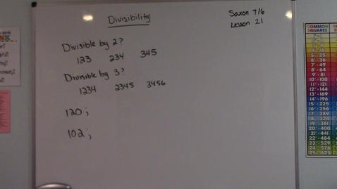 Thumbnail for entry Saxon 7/6 - Lesson 21 - Divisibility