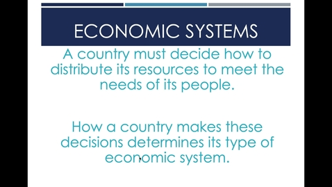 Thumbnail for entry Economic Systems Part II