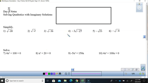 Thumbnail for entry Math 3 Unit 2 Day 5 Solving with Quadratic Formula