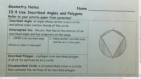 Thumbnail for entry 10.4 Inscribed Angles and Polygons