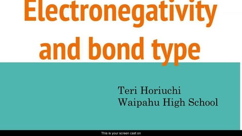 Thumbnail for entry Electronegativity and Bond Type 2020