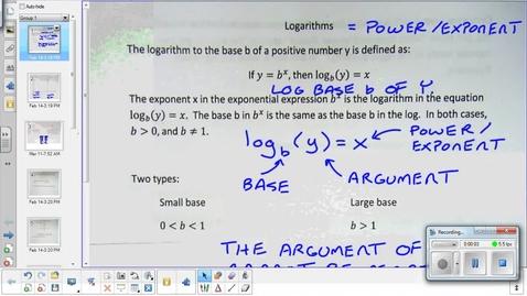 Thumbnail for entry Logarithm lesson 1   3-11-15