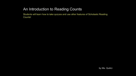 Thumbnail for entry An Introduction to Reading Counts