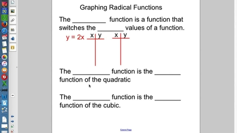 Thumbnail for entry 5.3 Graphing Radicals Part 2 (Inverses and Domain)