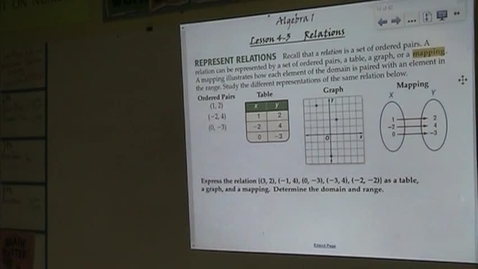 Thumbnail for entry Alg Lesson 4-3 Relations Part 1