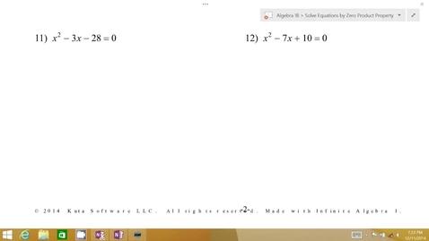 Thumbnail for entry Algebra 1B Lesson 07 #11-12