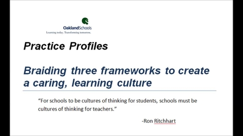 Thumbnail for entry Braiding three frameworks:  Character Education, Cultures of Thinking and PBIS