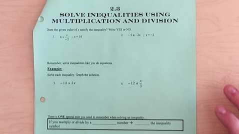 Thumbnail for entry Multiplying & Dividing Inequalities