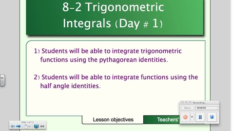 Thumbnail for entry 8-2 Trigonometric Integrals (Day # 1)