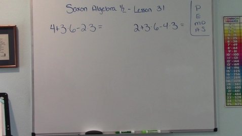 Thumbnail for entry Saxon Algebra 1/2 - Lesson 31 - Order of Operations