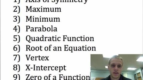 Thumbnail for entry Quadratics Vocabulary
