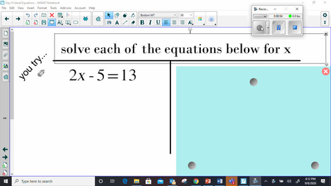 Thumbnail for entry 9.8 Literal Equations 1