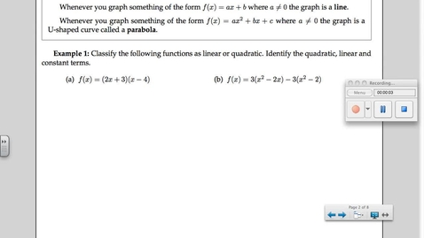 Thumbnail for entry 5-1 Quadratic Functions
