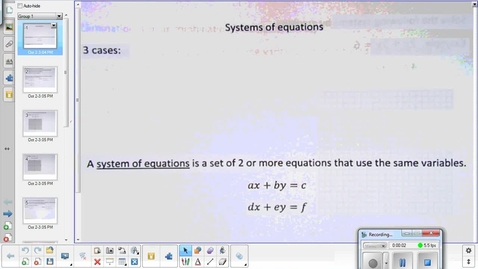 Thumbnail for entry Systems of equations and inequalities lessont pt 1  10-6-15