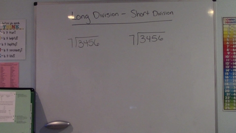 Thumbnail for entry Long Division - Short Division