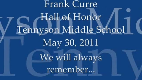 Thumbnail for entry Frank Curre Hall of Honor