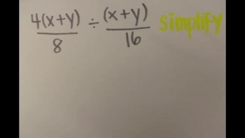 Thumbnail for entry Dividing Algebraic Fractions